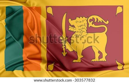Sri Lanka Flag. Flag with a beautiful glossy silk texture. - stock photo