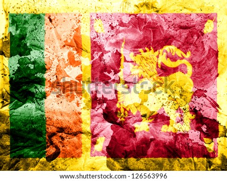 Sri Lanka flag  painted dirty and grungy paper