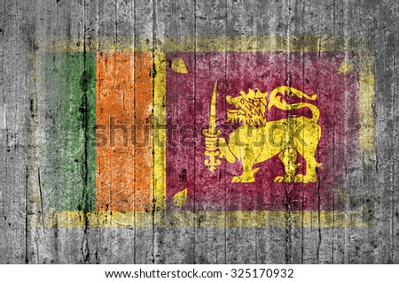 Sri Lanka flag painted on background texture gray concrete - stock photo