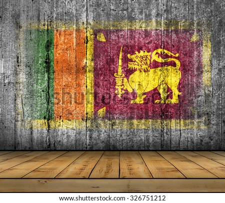 Sri Lanka flag painted on background texture gray concrete with wooden floor - stock photo