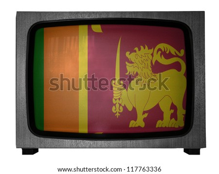 Sri Lanka flag painted on old TV - stock photo