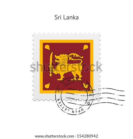 Sri Lanka Flag Postage Stamp on white background. See also vector version. - stock photo