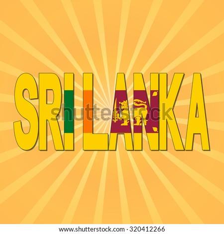 Sri Lanka flag text with sunburst illustration - stock photo