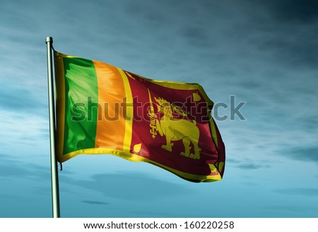 Sri Lanka flag waving on the wind