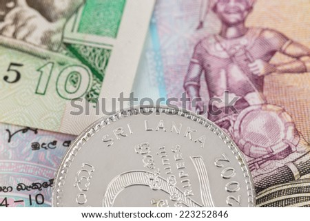 Sri Lanka money banknote focus on coin