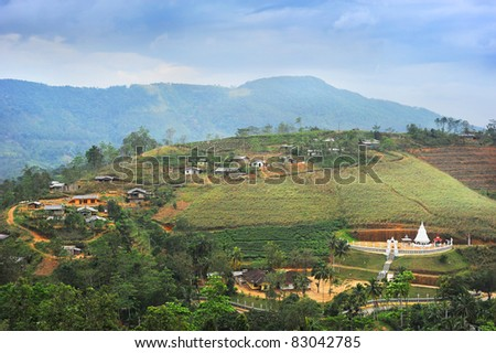 Sri Lankan mountain village in the evening