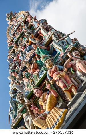 Sri Mariamman, a Hindu Temple in Singapore. - stock photo
