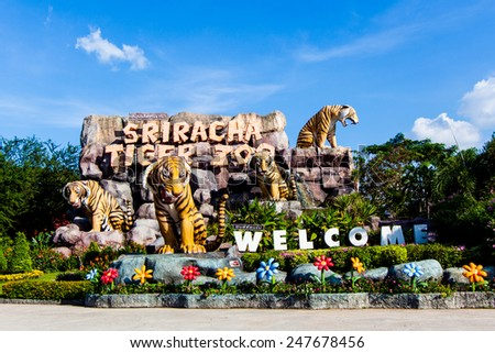 SRIRACHA, THAILAND - NOVEMBER 27 Sriracha Tiger Zoo. Tiger Zoo  on November 27, 2013 in Sriracha, Thailand - stock photo