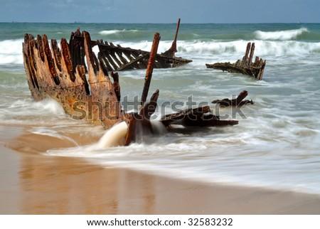 SS Dicky (shipwrecked at Caloundra 1893) - stock photo