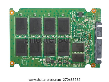 SSD drive interior circuit board - stock photo