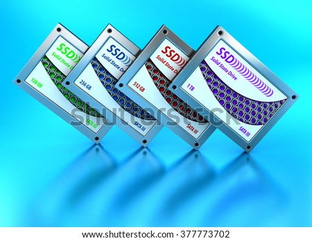 SSD drives, State solid drives, isolated on blue background 3d