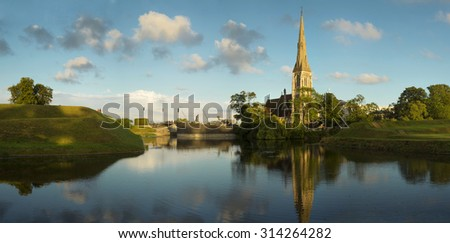 St Alban's Anglican Church in Copenhagen during a nice summer day - stock photo