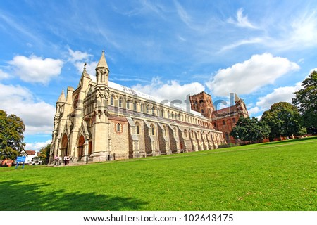 St Albans Cathedral on sunny day, wide angle view