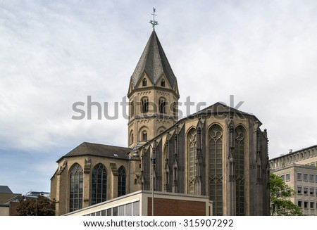 St. Andrew (German: St. Andreas) is a 10th-century Romanesque church located in the old town of Cologne, Germany. It is one of twelve churches built in Cologne in that period - stock photo