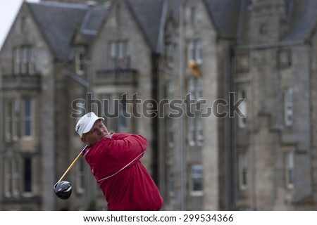 ST ANDREWS, SCOTLAND. July 18 2010: John DALY from the USA in action during the final round of The Open Championship   played on The Royal and Ancient Old Course - stock photo