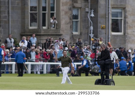 ST ANDREWS, SCOTLAND. July 18 2010: Louis OOSTHUIZEN from South Africa on his way up the 18th fairway on his way to winning The Open Championship    played on The Royal and Ancient Old Course - stock photo
