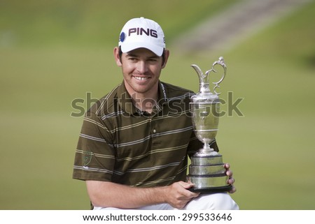 ST ANDREWS, SCOTLAND. July 18 2010: Louis OOSTHUIZEN from South Africa winner of  The Open Championship    played on The Royal and Ancient Old Course - stock photo