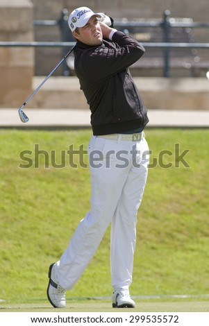 ST ANDREWS, SCOTLAND. July 17 2010: Marc LEISHMAN from Australia in action during the third round of The Open Championship   played on The Royal and Ancient Old Course - stock photo