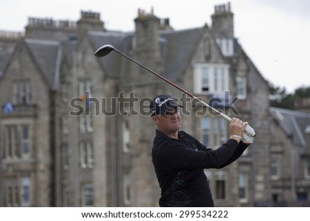 ST ANDREWS, SCOTLAND. July 18 2010: Peter HANSON from Sweden in action during the final round of The Open Championship   played on The Royal and Ancient Old Course - stock photo