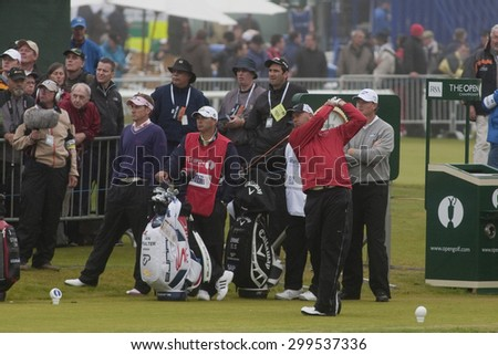 ST ANDREWS, SCOTLAND. July 15 2010: Stewart CINK from the USA in action on the first day of The Open Championship   played on The Royal and Ancient Old Course - stock photo