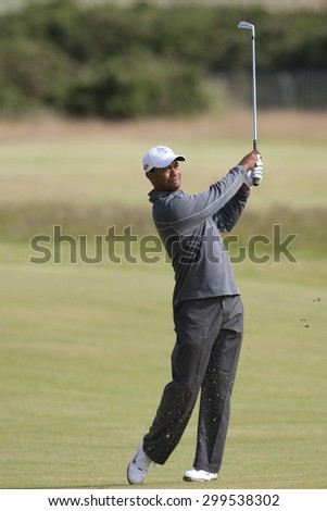 ST ANDREWS, SCOTLAND. July 11 2010: Tiger Woods (USA)  in action during the preview day of The 150th Open Championship played on The Royal and Ancient Old Course - stock photo