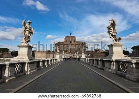 St. Angel's Bridge in Rome - stock photo