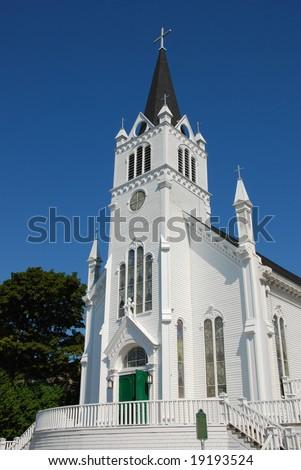 St Anne's Catholic Church in Mackinac Island Michigan - stock photo