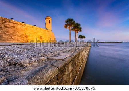 St. Augustine, Florida at the Castillo de San Marcos National Monument. - stock photo
