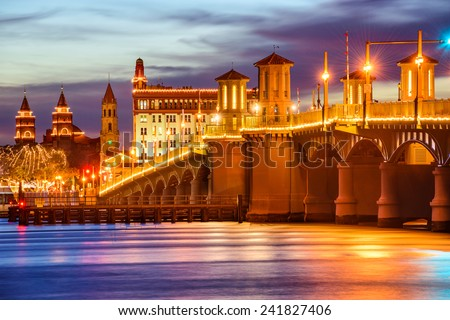 St. Augustine, Florida, USA city skyline and Bridge of Lions. - stock photo
