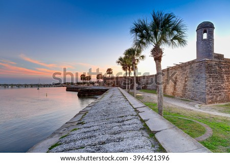 St Augustine fort at sunset in March - stock photo