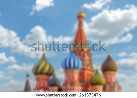 St. Basil cathedral on Red Square in Moscow, Russia, blurred background - stock photo