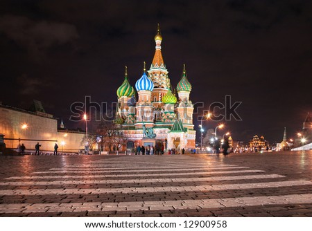 St. Basil's cathedral in Moscow at night - stock photo