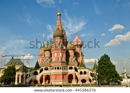St. Basil's Cathedral. Intercession Church on red Square in Moscow - the world cultural heritage.