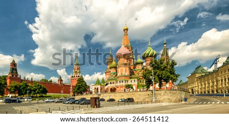 St. Basil`s Cathedral with Kremlin, Moscow, Russia - stock photo