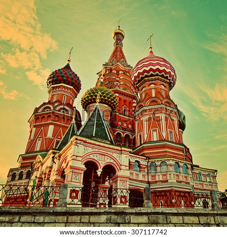 St Basils cathedral on Red Square in Moscow. Retro stale. - stock photo