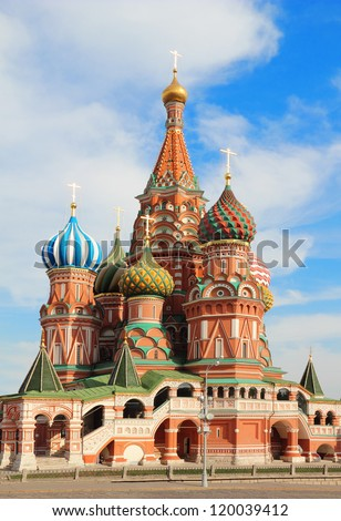 St Basils cathedral on Red Square in Moscow Russia - stock photo