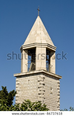 St.Cassian`s church belfry in Sukosan on a sunny day - stock photo