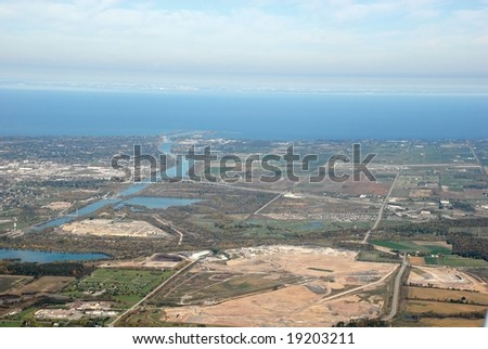 St. Catharines Ontario - Welland Canal, aerial - stock photo