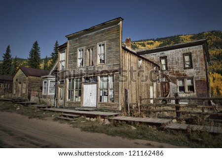 St Elmo ghost town in Colorado during fall - stock photo