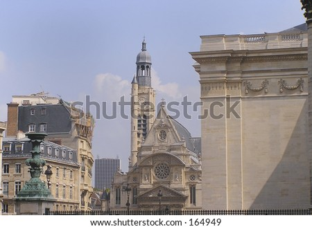 St Etienne church and surrounding roofs of Paris