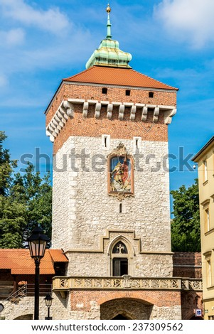 St. Florian's gate, it was built in XIV century in a historical part of Krakow, - stock photo