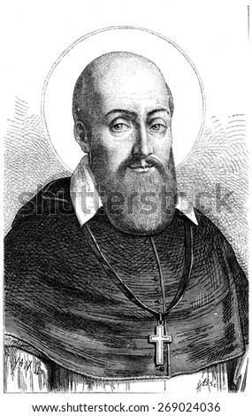 St. Francis de Sales, vintage engraved illustration.  - stock photo