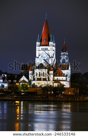 St. Francis of Assisi Church in Vienna, Austria at night - stock photo
