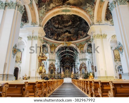 ST GALLEN, SWITZERLAND - DEC 31, 2015: Beautiful interior decoration of Abbey of Saint Gall, St. Gallen, Switzerland. The abbey is one of the most important baroque monuments in Switzerland.