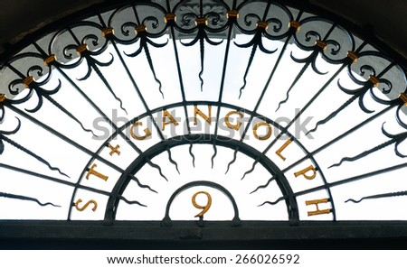 St. Gangloph sign above church's entrance. A Roman Catholic church in Trier, Germany. It is dedicated to St. Gangulphus. After Trier's Cathedral, it is the second oldest church building in the city.  - stock photo