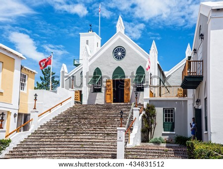 ST.GEORGE,BERMUDA, MAY 27 - The historic Anglican St. Peters Church dating back to 1620 on May 27 2016 in St. Georgeâ??s Bermuda.  - stock photo