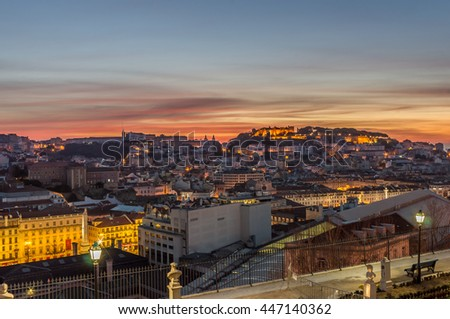 St George castle and old city in the dawn, Lisbon, Portugal