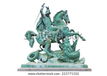 St. George killing the Dragon, bronze statue made by Austrian sculptor Anton Fernkorn in 1853. It's standing next to the Croatian National theatre in Zagreb, Croatia. - stock photo