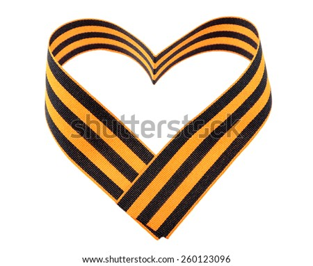 St. George ribbon in shape of heart isolated on white background - stock photo