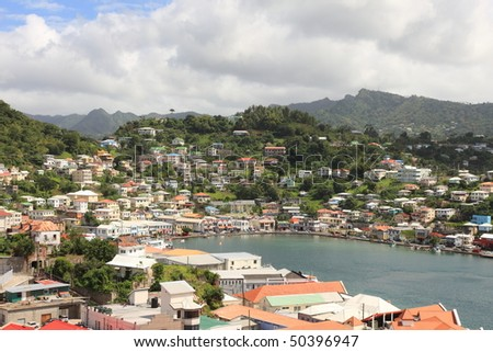 St. George's is the capitol of Grenada with very nice harbor - stock photo